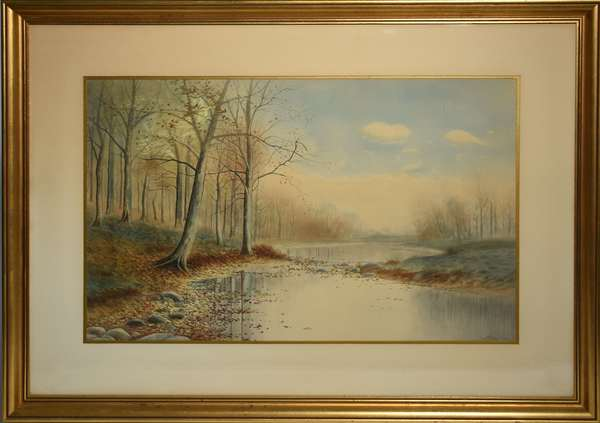 Watercolor, river scene, signed Geo. Howell Gay, 16