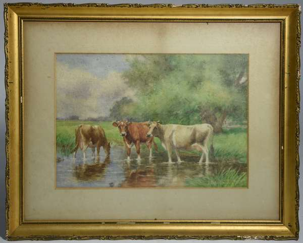 Watercolor, cows in stream, signed D.F. Wentworth, 12