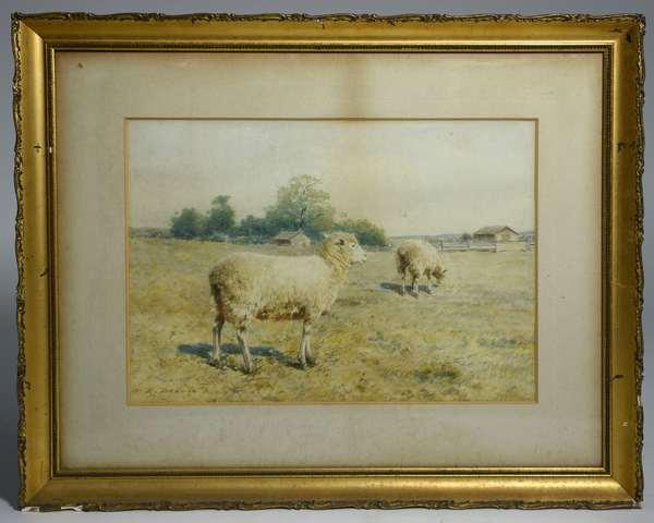Watercolor, sheep in farmyard, signed W.R. Derrick, 12