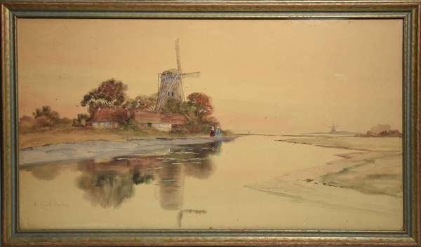 Watercolor & gauche, windmills in landscape, signed Louis K Harlow, 17.5