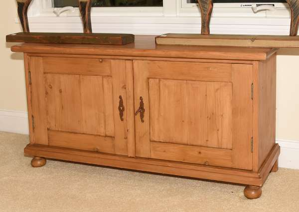 English pine small size cabinet with double doors on bun feet