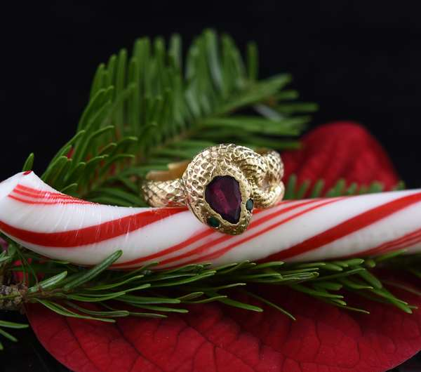14k yellow gold gentleman's snake ring, pear shaped ruby with two emerald eyes