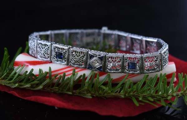 14k white gold bracelet, square filigree links with one diamond and blue stones, 14.5 grams