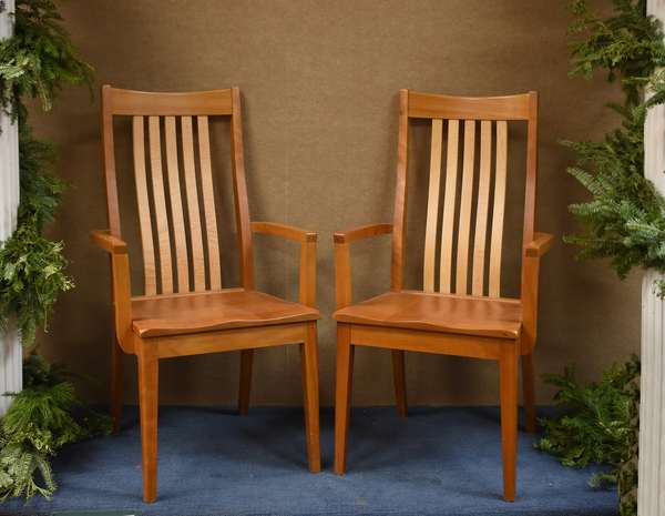Pair of cherry and maple custom made armchairs by Clearlake Furniture