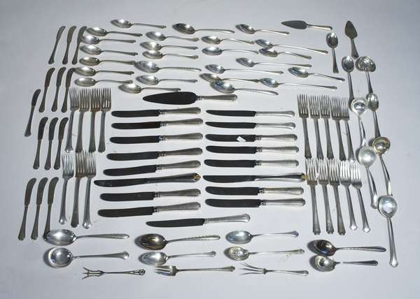 Large assorted lot of sterling flatware by various makers, 74 plus 20 knives, 94 pieces total, approx. 74.5 ozt