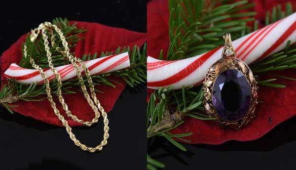 14k yellow gold rope chain, 18.9 grams along with a ladies amethyst pendent set in a vintage rose gold setting