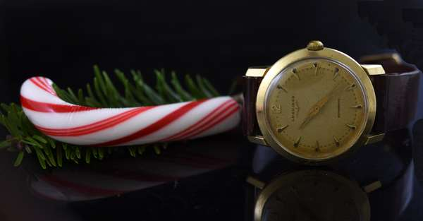 14k Longines leather wrist watch