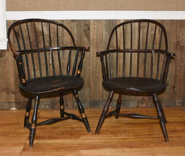 Two period Windsor sack-back armchairs, one in old color and other in black paint, 16