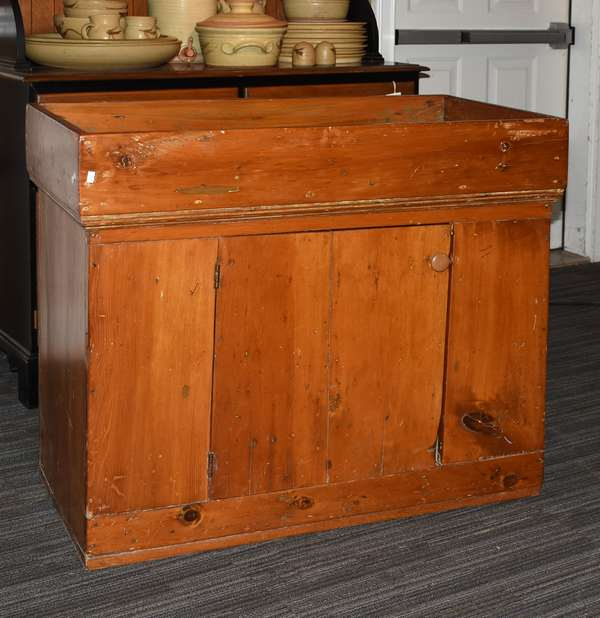 New England maple and pine antique dry sink, 37