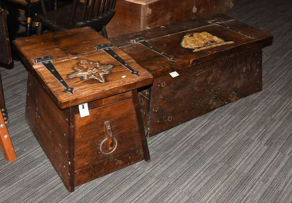 "Two contemporary nautical theme carved sea chests, one signed ""The Quarter Board"" along with other smaller example"