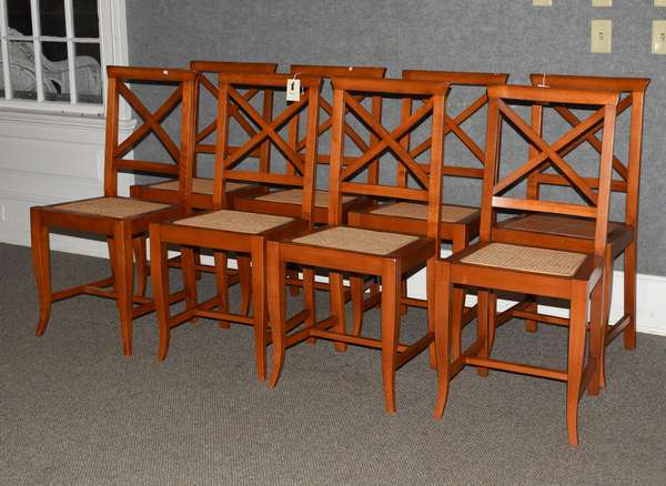 Set of eight Italian made cane seat dining chairs with