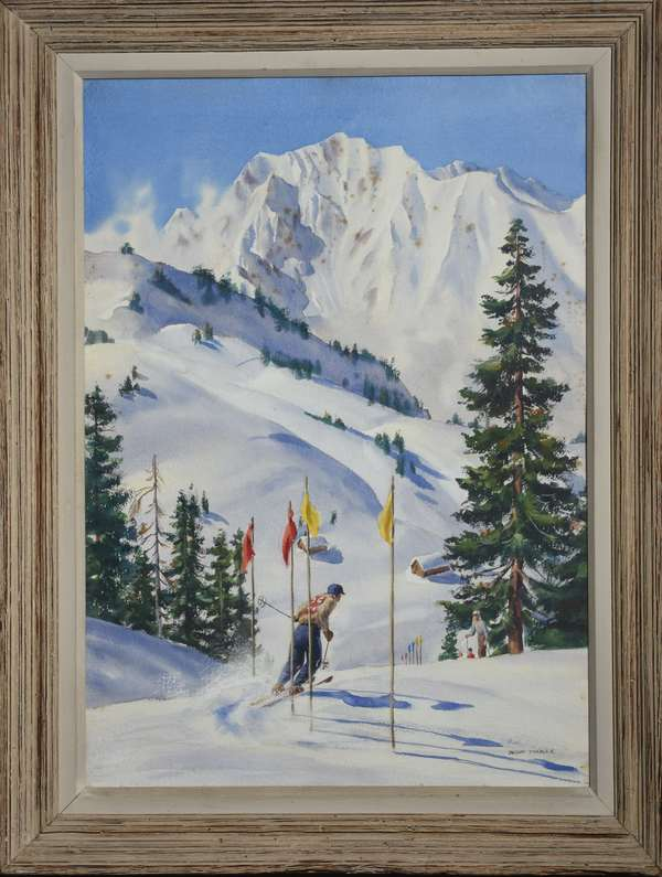 Watercolor on paper, slalom skier in winter mountain landscape, inscribed on reverse