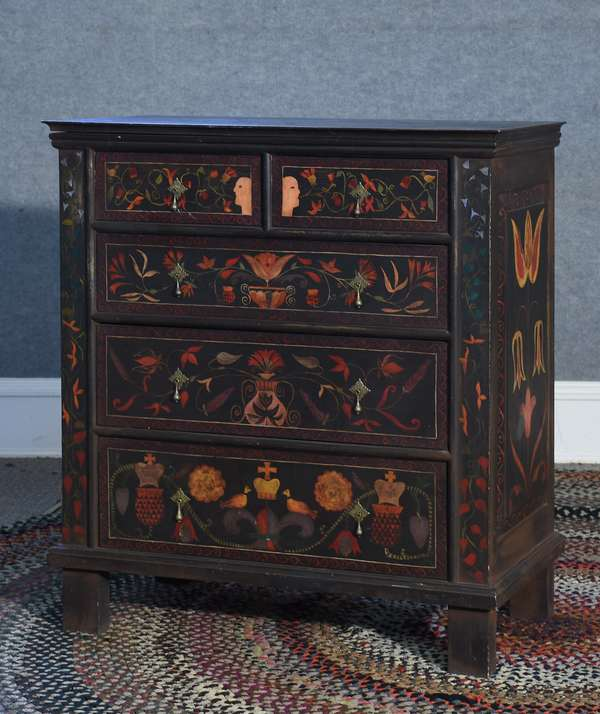 Labeled Eldred Wheeler paint decorated Pilgrim style two over three drawer chest, decorated in the PA. Dutch style, 35
