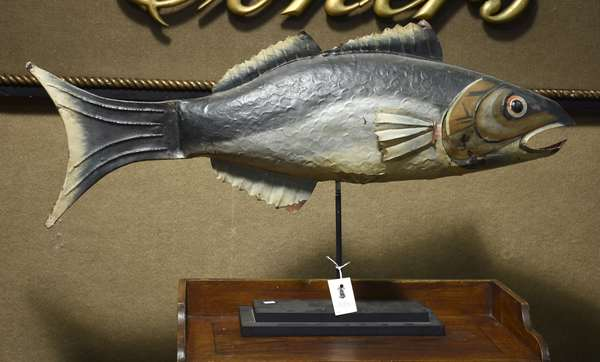 Good antique paint decorated pressed tin fish trade sign, 38