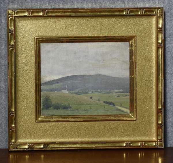 Oil on canvas, VT mountain landscape, signed Pleissner, inscribed on back by Ogden's wife,