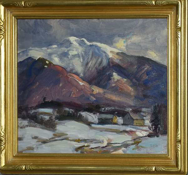 Oil on artist's board, base of Mt. Mansfield in winter, signed Thos. R. Curtin, 16