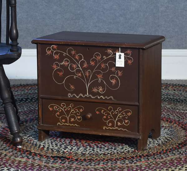 Labeled Eldred Wheeler child's size Queen Anne style lift top blanket chest with painted berry and vine decoration, 23