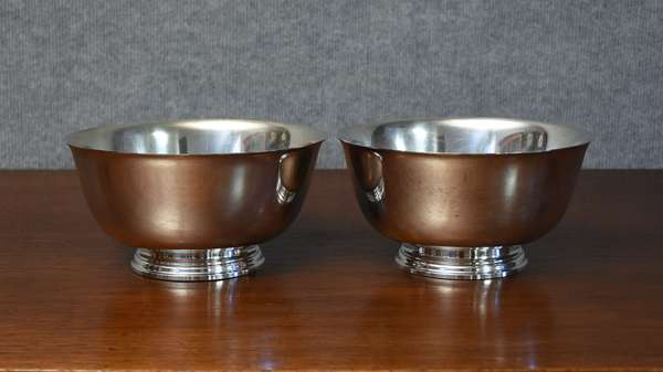 Two Tiffany and Co. sterling Revere style bowls, 7.75