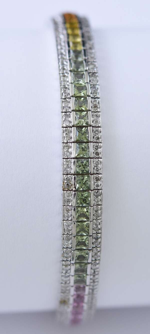 14k white gold multi color sapphire bracelet, pink, blue, green, yellow and orange sapphires, approx. 19.1 grams, 7