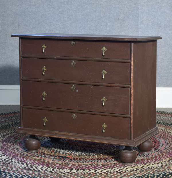 Labeled Eldred Wheeler William & Mary style four drawer chest in Spanish brown paint, 36