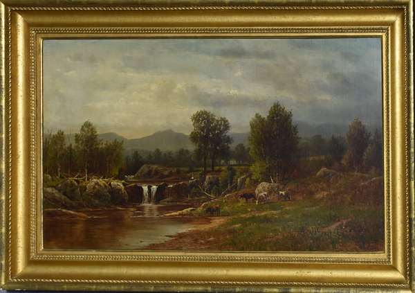 Good oil on canvas, New England country river landscape with cows and figure, signed C.W. Knapp, 20