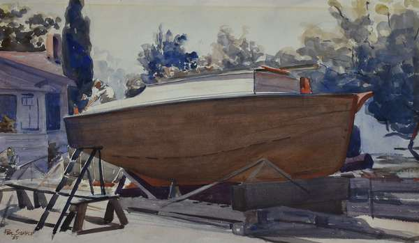 Good watercolor on paper, boat being repaired at dock, signed and dated Paul Sample '55 with reverse showing a watercolor full length portrait of woman, signed Paul Sample, 13.5