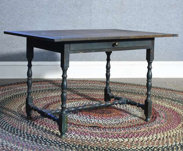 Labeled Eldred Wheeler William & Mary style one drawer tavern table in a blue/green paint, 48