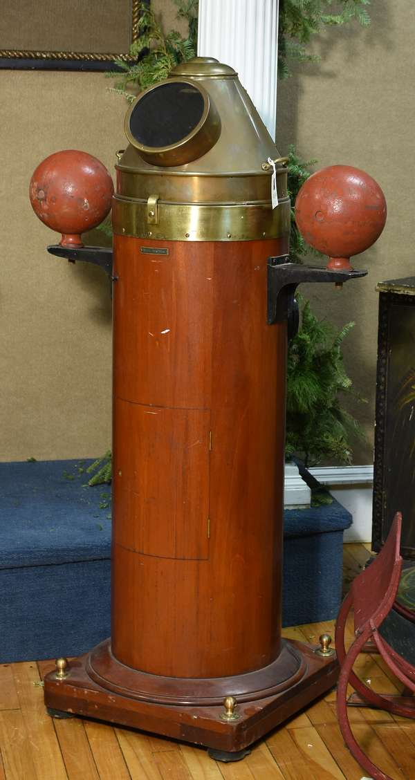 Antique Negus-NY ship's binnacle with gimbaled compass (Ritchie), in mahogany case fitted with brass, 53