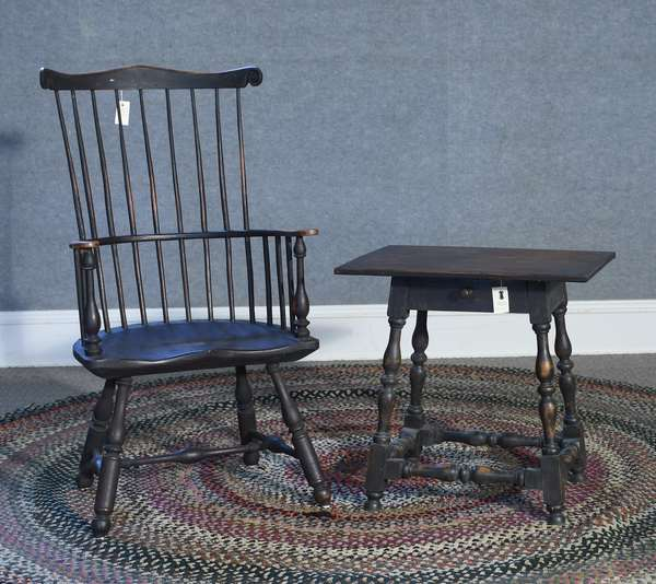 Labeled Eldred Wheeler Gilpin style comb back armchair along with William & Mary style stretcher base tavern table, both in similar surface, two pieces