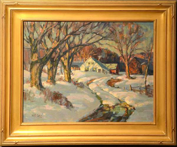 Oil on artist's board, winter landscape with New England farmhouse and barn, signed Thos. R. Curtin, 16