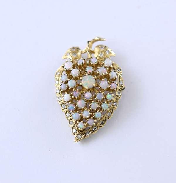 14k opal pin with diamonds, leaf shaped, 1.75