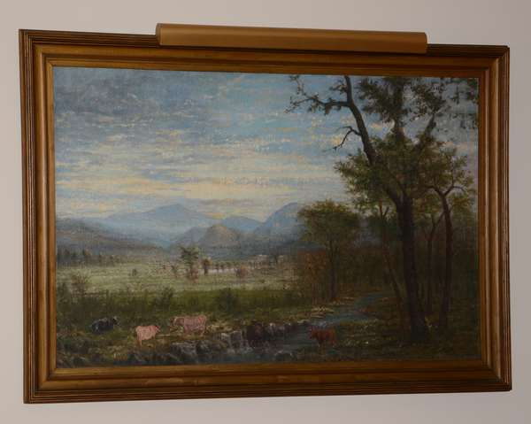 Large unsigned oil on canvas, NH river landscape with cows, Conway Meadows, in rippled frame, 37