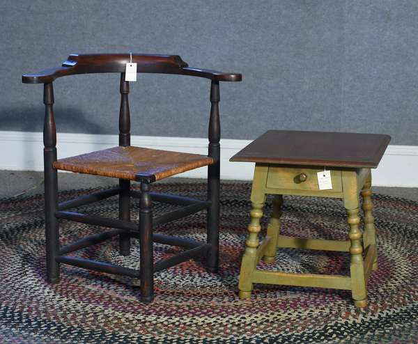 Labeled Eldred Wheeler 18th C. style corner chair in blue/red paint along with labeled William & Mary style diminutive stand with single drawer