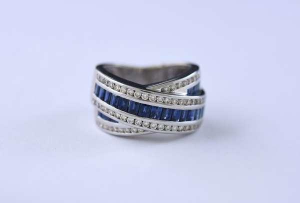 14k white gold, sapphire and diamond band,