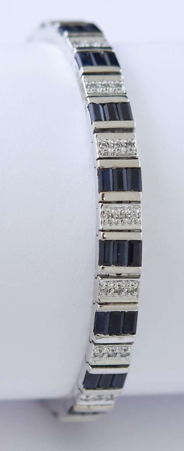 14k white gold sapphire and diamond bracelet, 7