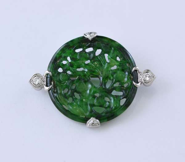 Fine 18k white carved jade round pin with diamonds, signed Wise, 1.5