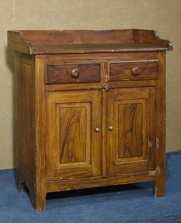 Sweet 19th C. child's size grain painted jelly cupboard, in original decoration