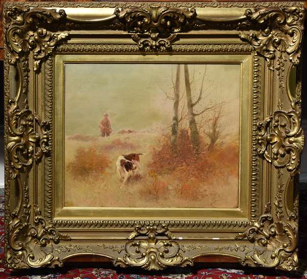 Oil on canvas, hunting dog in autumn landscape with hunter, Signed E. Petit, 15