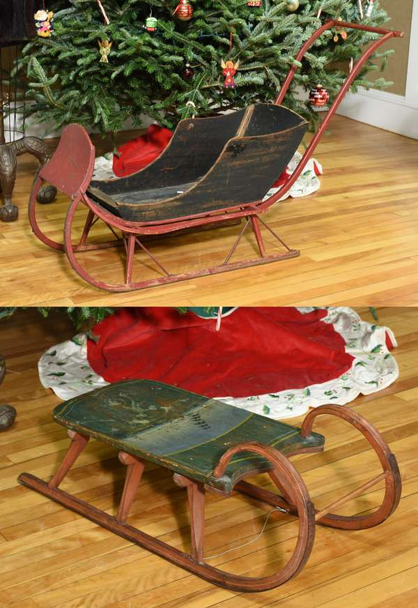 Antique child's sleigh along with sled, both in original paint