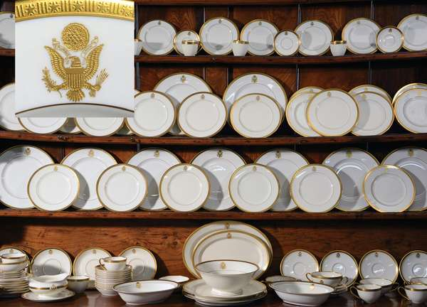 Large China and glassware service from the Estate of John P. Humes, Ambassador to Austria during the Nixon/Ford Administration, all pieces bearing the Great Seal Of The United States, 110 china pieces and 95 glass