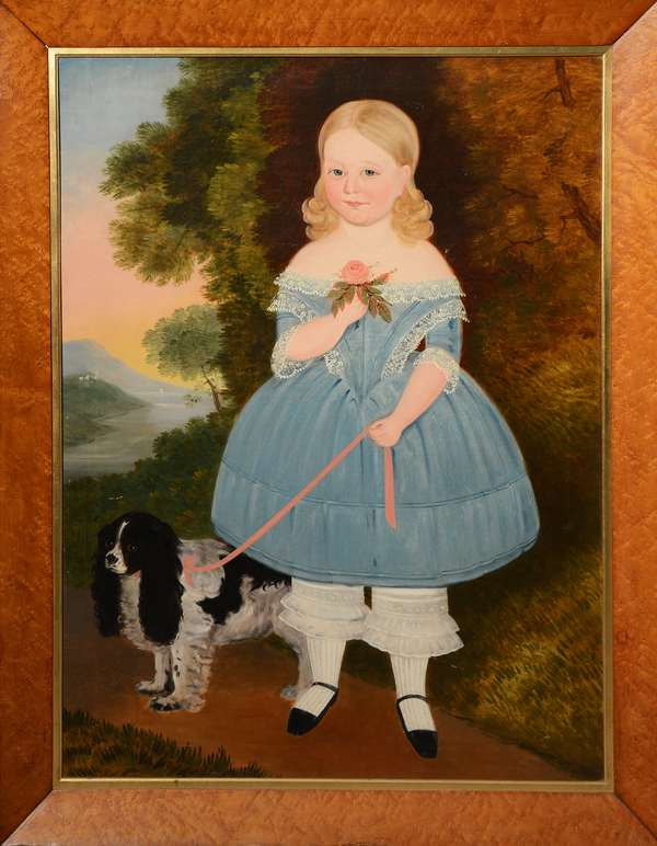 Large 19th C. American School oil painting, full length portrait of young blonde hair girl in blue dress with her spaniel, landscape in background, 41