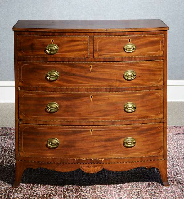Good Federal inlaid mahogany two over three drawer chest on French feet, highly detailed line and fan inlays with a butterfly inlay in apron, poplar secondary wood, Baltimore area, Ca. 1790 -1800, 38