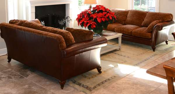 Good pair of quality Sherrill Furniture Co. leather and paisley upholstered sofas, 87