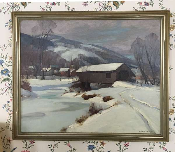 Oil on canvas, NE winter landscape with covered bridge, signed Emile A. Gruppe, 25