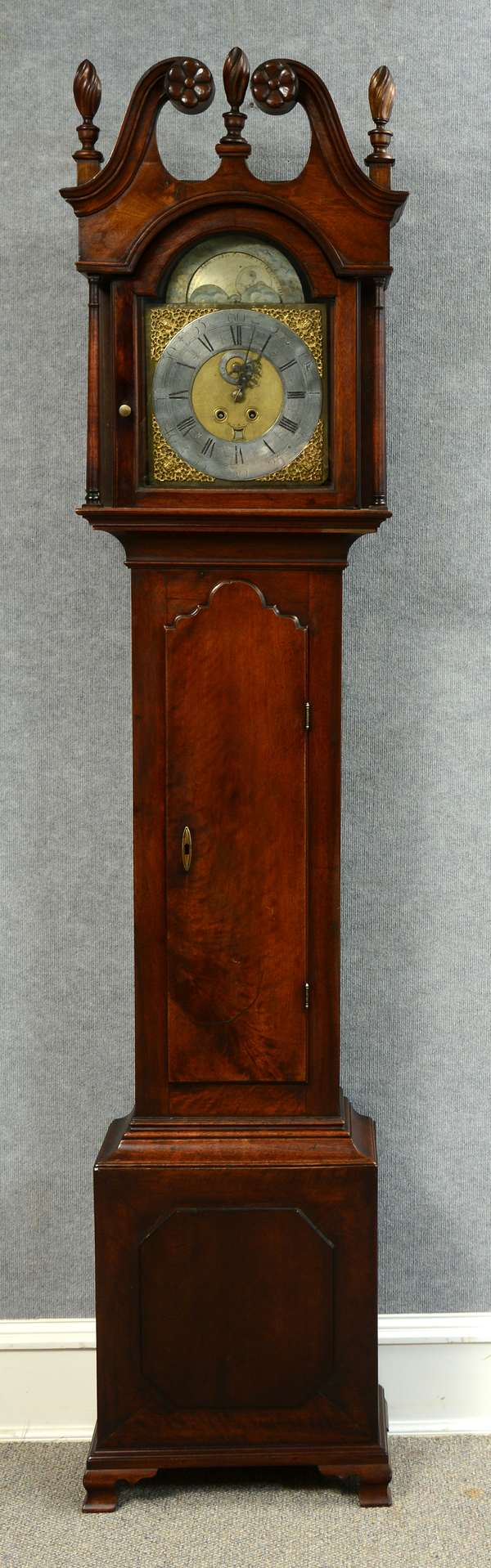 18th C. PA walnut Chippendale tall clock with carved broken arch crest on ogee bracket base, moon phase silvered & gilt dial, 93