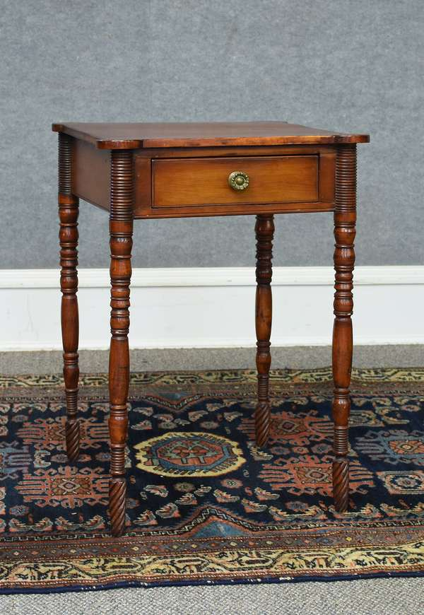19th C. Federal cherry and birch N.E. cookie corner one drawer stand with most unusual carved and turned legs, 27.5