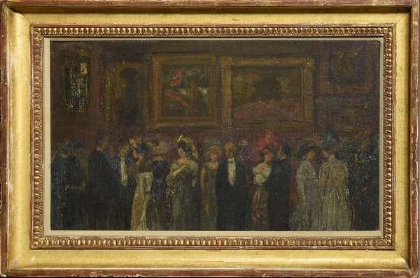 Oil on artist board, art reception in gallery setting, inscribed on reverse,