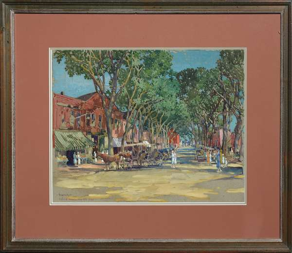 Early 20th C. watercolor, street scene titled