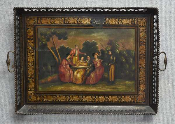 Early 19th C. scenic tole decorated serving tray with reticulated border & painted center depicting family at picnic, 27.5