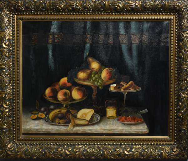 19th C. American School still life, fruit with serving pieces on table, in original frame, 25